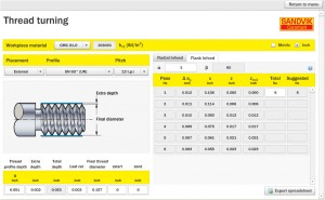Thread Machining Calculator from Sandvik Coromant