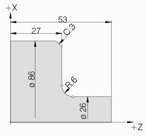 Chamfer and Radius Program Example with G01