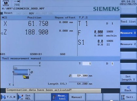 Sinumerik 808D Tool Measuring Screen