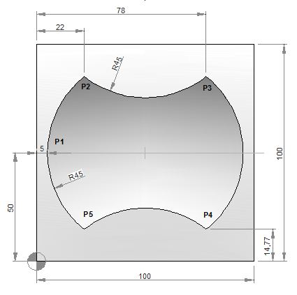 CNC Mill Subprogram Example Joining Multiple Arcs G02 G03 G41