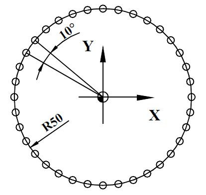 NCT Programming Drilling in a Circle with G81 Drilling Cycle G16 Polar Coordinate